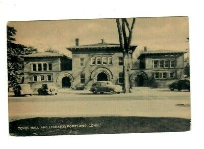 Vintage POSTCARD TOWN HALL LIBRARY PORTLAND CONNECTICUT Car Auto photo US CT