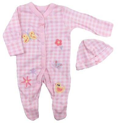 Baby Girls Sleepsuit And Cradle Cap Babygrow Romper Butterfly Flowers Pink Check
