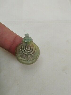 Style Pendant Roman Ancient Intaglio Candlestick Menorah Artifact Glass Antique