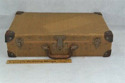 suitcase luggage overnight straw wicker leather 20x12x5  Victorian antique