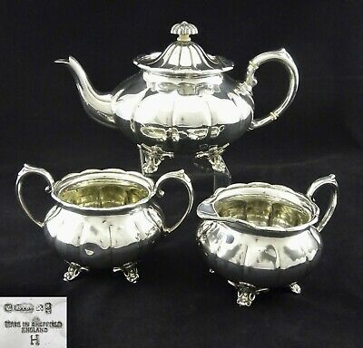 Vintage 3 Piece Cooper Brothers Melon Style Tea Set Sugar Creamer Silver Plated