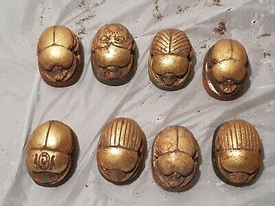 Rare Antique Ancient Egyptian 8 Scarabs Good Luck Hiroglyphic 1860-1780BC