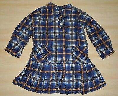 VINTAGE 1970's UNWORN GIRLS BLUE & YELLOW CHECK PLEAT DRESS AGES 2 up to 5 years