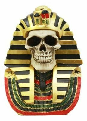 "Polyresin Pharaoh King Tut Skull Bust Ancient Egyptian Skeleton Sculpture 7""H"