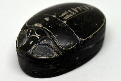 """Large Egyptian Hand Carved Black Scarab 2.5""""X1.5"""""""