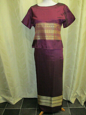 Ladies Traditional Asian Thai Silk Skirt & Top Outfit - Fits A Uk 12-14 Purple