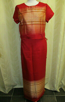 Ladies Traditional Asian Thai Silk Skirt & Top Outfit - Fits A Uk 12-14 Red