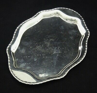 Vintage Oval Bead Edge Serving Tray Dish Bowl Mirror Finish Silver Plated