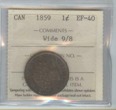 1859 9/8 EF 40 1 Cent coin