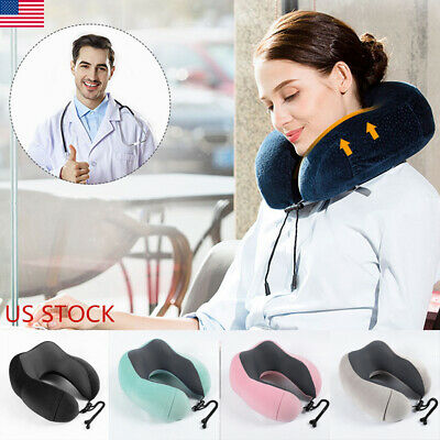 Memory Foam Travel Pillow U shaped Neck Support Head Rest Airplane Soft Cushion#
