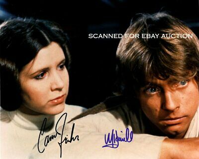 MARK HAMILL & CARRIE FISHER *SIGNED 8x10* AUTO REPLICA PHOTO *STAR WARS*