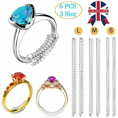 6pcs Ring Size Reducer Resizer Adjuster Ring Size Clip Guard Invisible Design UK