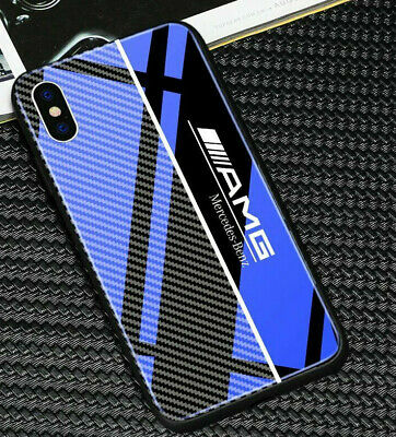 AMG Mercedes iPhone Case Blue Tempered Glass Mix Carbon Fiber 7,7+,8,8+,X,XR,XS