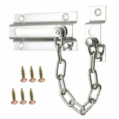 NEW STRONG STEEL SECURITY DOOR CHAIN GUARD SLIDE BOLT + SCREWS Home Safety DS