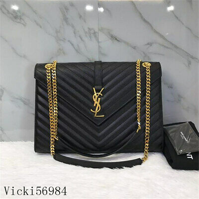 +++Nwt Authentic Ysl Saint Laurent Black Medium Monogram Envelope Flap Bag Gold+