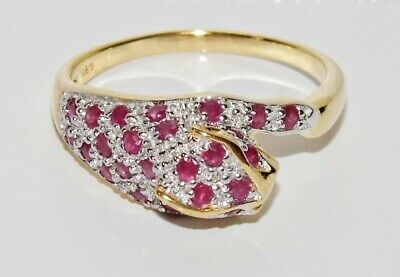 9ct Yellow Gold & Silver Ruby & Diamond Panther / Cat Ring size P