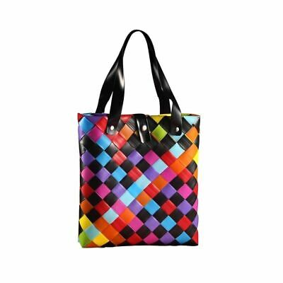 Rainbow and Black Weave Reuable Shopping Tote Bag - Shopper Shoulder Handbag