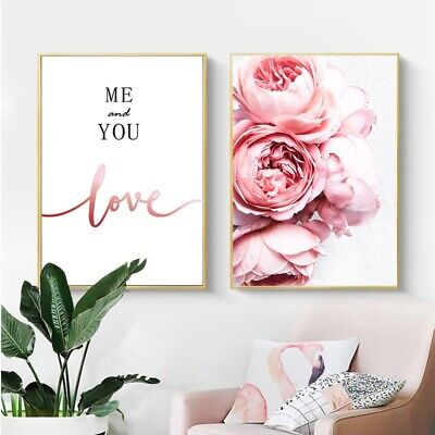 Nordic Style Peony Flower Canvas Poster Beauty LOVE Quotes Wall Art Painting