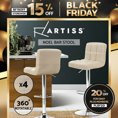 Artiss 4x Leather Bar Stools NOEL Kitchen Chairs Swivel Bar Stool Gas Lift Beige
