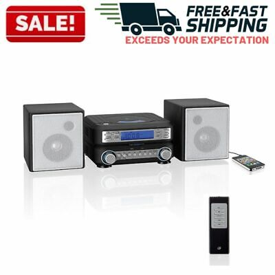 Home Stereo System CD Player Radio Shelf Speakers Auxillary Input Remote Control