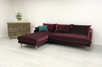Swoon Kalmar Corner Sofa Velvet Bordeaux Red Swoon Editions £1699