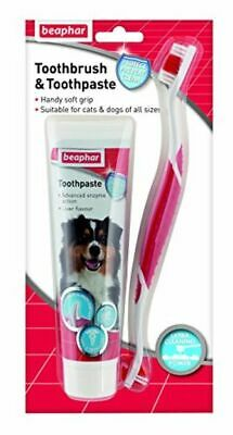 Beaphar Dog Puppy Cat Toothbrush and Toothpaste Kit 100g Dental Breath Care