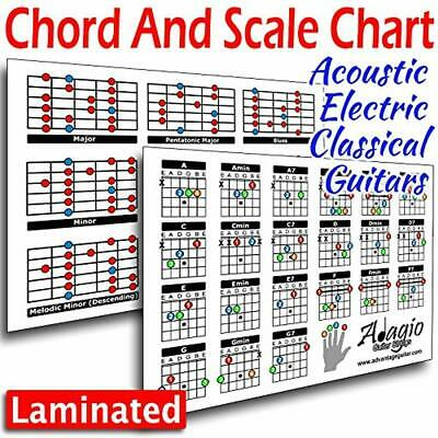 ADAGIO Colourful Compact 2-Side Chord Scale Lesson Chart For Guitars *** Gloss L