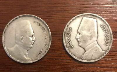 Egyptian silver coins of King Foaud 2 Five piasters 1923 & 1929 R  & L.