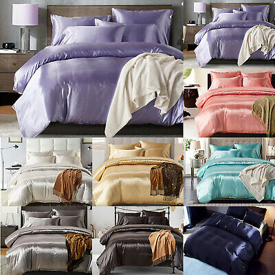 Luxury Bedding Set Pillow Cases Quilt Cover Imitated Silk Single Double King