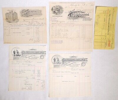 P5528. Antique Lot of 5 ORDER FORMS & RECEIPT: Coca Cola, Gibbs & More (1906)