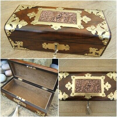 Wonderful Rare 19C Figured Walnut Antique Jewellery Box - Fab Interior