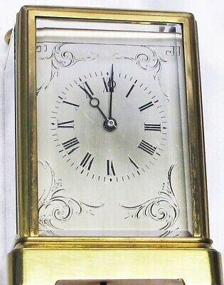 CARRIAGE CLOCK, BRASS, RICHARD ET CIE. LONDON&PARIS ca. 1900 (or 1875),EXCELLENT