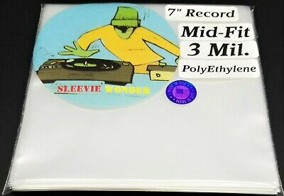 """1000 3mil Mid Fit - Seven Inch Vinyl Record Outer Sleeves Plastic dj 7"""" 45 45rpm"""