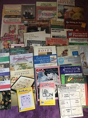 Huge Lot 40+ VNTG Craft Patterns Embroidery Macrame Sewing Applique and More!