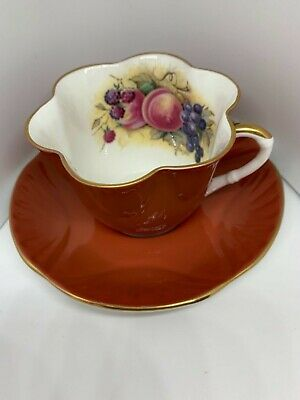 CROWN STAFFORDSHIRE J.Bailey signed Fruit  CUP & SAUCER Aynsley