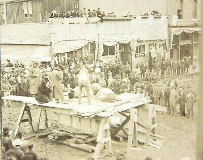2 Diff Stereoviews of a Miner Competition on Street in Telluride Colo 1890s