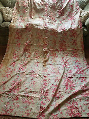 Antique Vtg French Pink Floral Print Drapes Curtains Victorian Roses 3of4 PAIR