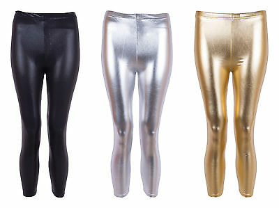 Girls Shiny Disco Wet Look Metallic Foil Shiny Leggings
