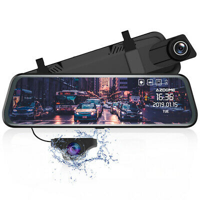 "AZDOME PG02 Car Dash Cam 1080P 720P 10"" Mirror Full Dual Lens Car DVR P4D5"