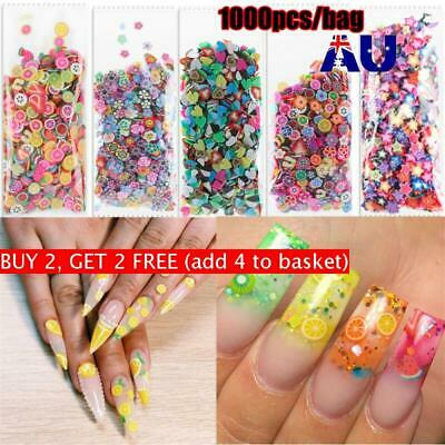 Decal Nail Stickers Polymer Clay Nail Art Decoration 3D Fruit Feather Flowers