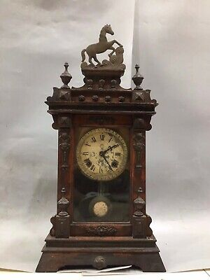 """23.6"""" Chinese Handmade horse Mechanical clock table Home decoration"""