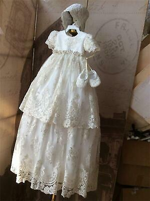 Baby Infant Girl Toddler Christening Baptism Bonnet Formal Dress White 18-24 M