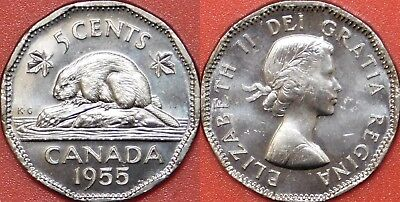 Brilliant Uncirculated 1955 Canada 5 Cents From Mint's Roll