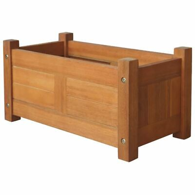 """New Acacia Wood Outdoor Planter Wooden Garden Flowers Plant Display 19.7"""""""