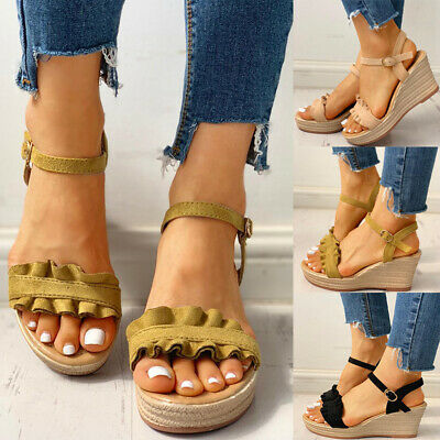 Women Ruffle Frill Wedge Espadrille Sandals Ladies Ankel Buckle Casual Shoes