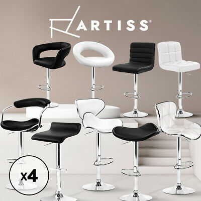 【20%OFF】Kitchen Bar Stools Swivel Bar Stool Leather Chairs Gas Lift Black White