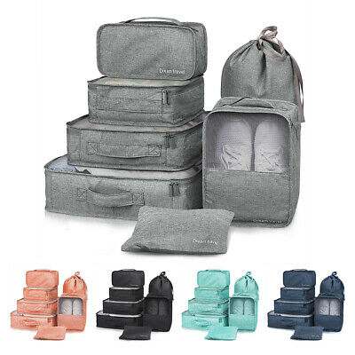 Set 7x Packing Cube Pouch Suitcase Clothes Storage Bag Travel Luggage Organizer
