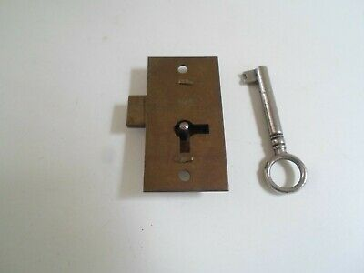 "Vintage Brass Lock & Working Key - Till - Drawer - Measures 2"" x 1"""