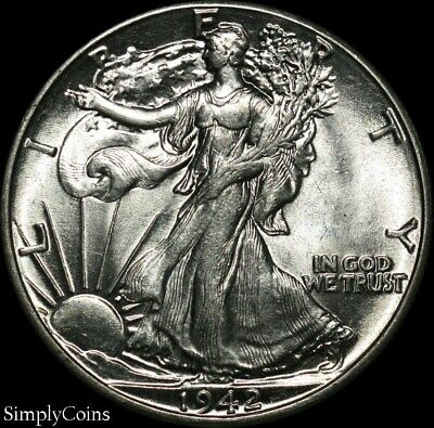 1942 Walking Liberty Silver Half Dollar ~ AU About Uncirculated ~ US Coin