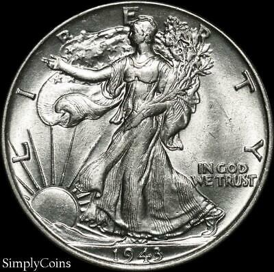 1943 Walking Liberty Silver Half Dollar ~ AU About Uncirculated ~ US Coin